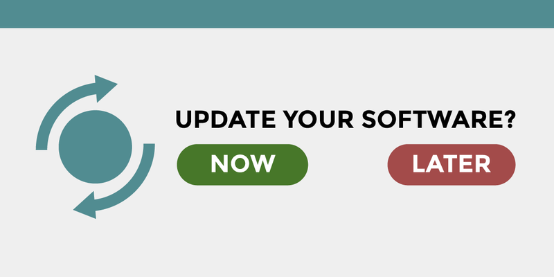 "A popup window that says: ""Update your software?"" followed by a green button labeled ""Now"" and a red button labeled ""Later""."